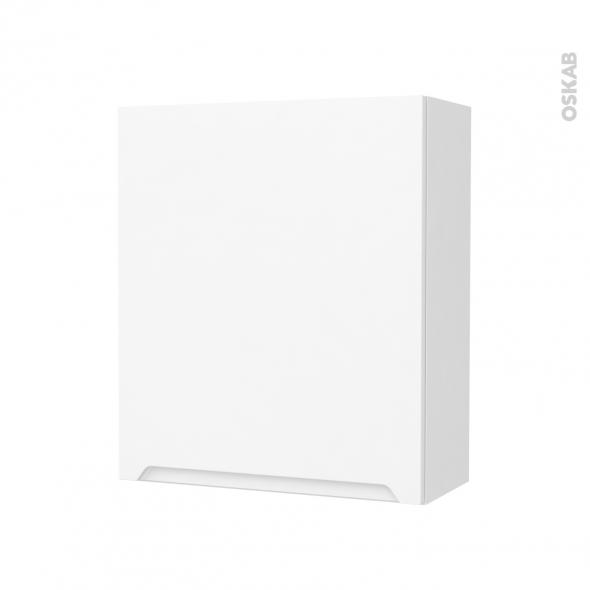 PIMA Blanc - Armoire de rangement N°212 - Côté décor - 1 porte - L60xH70xP27