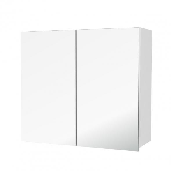 Armoire de salle de bains - Rangement haut - PIMA Blanc - 2 portes miroir - Côtés décors - L80 x H70 x P27 cm