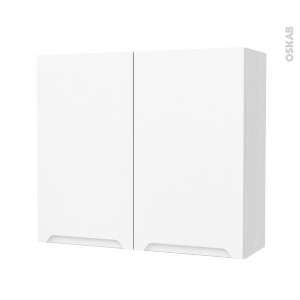 Armoire de salle de bains - Rangement haut - PIMA Blanc - 2 portes - Côtés blancs - L80 x H70 x P27 cm