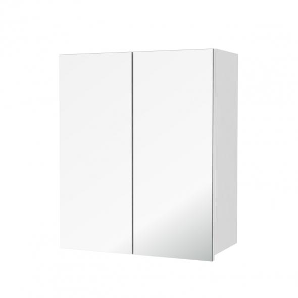 Armoire de salle de bains - Rangement haut - PIMA Blanc - 2 portes miroir - Côtés décors - L60 x H70  xP27 cm
