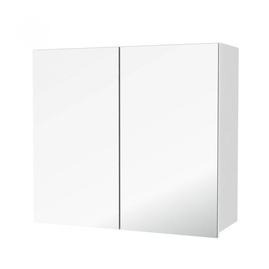 Armoire de salle de bains rangement haut pima blanc 2 - Miroir salle de bain rangement ...