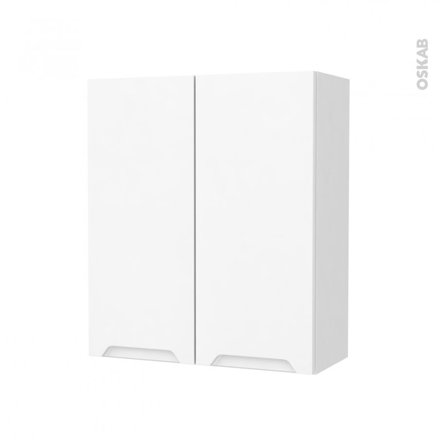 Armoire de salle de bains rangement haut pima blanc 2 - Armoire salle de bain blanc ...