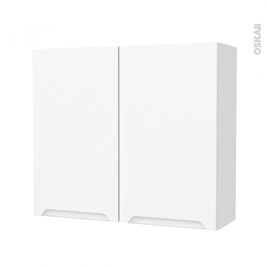 Armoire de salle de bains rangement haut pima blanc 2 portes c t s d cors l80 - Armoire salle de bain blanc ...