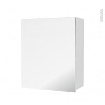 Armoire de salle de bains - Rangement haut - BORA Blanc - 1 porte miroir - Côtés décors - L60 x H70 x P27 cm