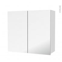 Armoire de salle de bains - Rangement haut - BORA Blanc - 2 portes miroir - Côtés décors - L80 x H70 x P27 cm