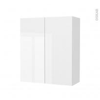 Armoire de salle de bains - Rangement haut - BORA Blanc - 2 portes - Côtés décors - L60 x H70 x P27 cm