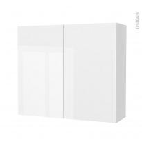 Armoire de salle de bains - Rangement haut - BORA Blanc - 2 portes - Côtés blancs - L80 x H70 x P27 cm