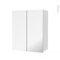 Armoire de salle de bains - Rangement haut - BORA Blanc - 2 portes miroir - Côtés décors - L60 x H70  xP27 cm