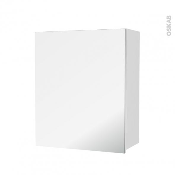 STECIA Blanc - Armoire de rangement N°1152 - Côté décor - 1 porte miroir - L60xH70xP27