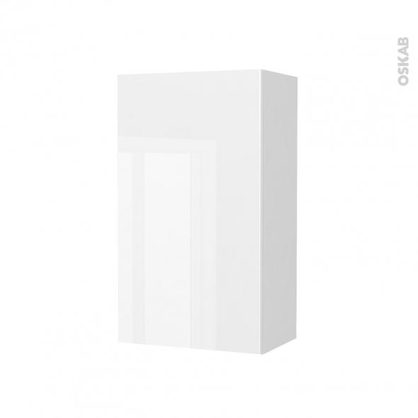 Armoire de salle de bains - Rangement haut - BORA Blanc - 1 porte - Côtés blancs - L40 x H70 x P27 cm