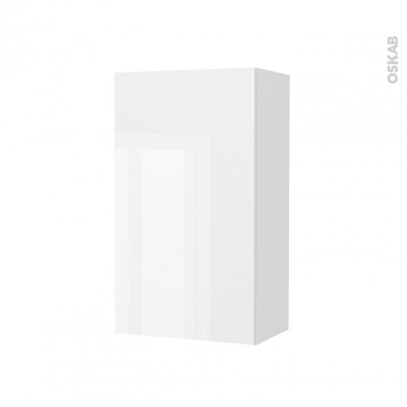 Armoire de salle de bains - Rangement haut - BORA Blanc - 1 porte - Côtés décors - L40 x H70 x P27 cm