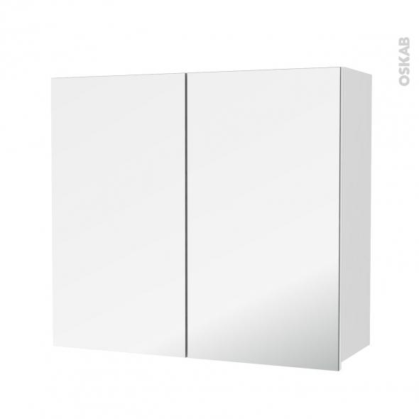STECIA Blanc - Armoire de rangement N°682 - Côté décor - 2 portes miroir - L80xH70xP27