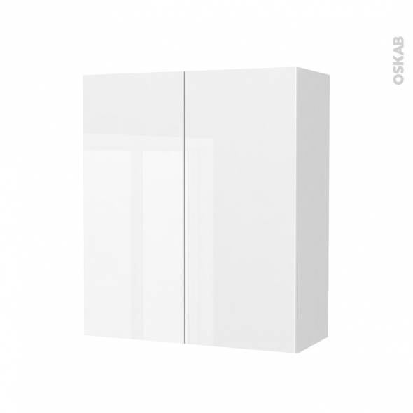 Armoire de salle de bains - Rangement haut - BORA Blanc - 2 portes - Côtés blancs - L60 x H70 x P27 cm