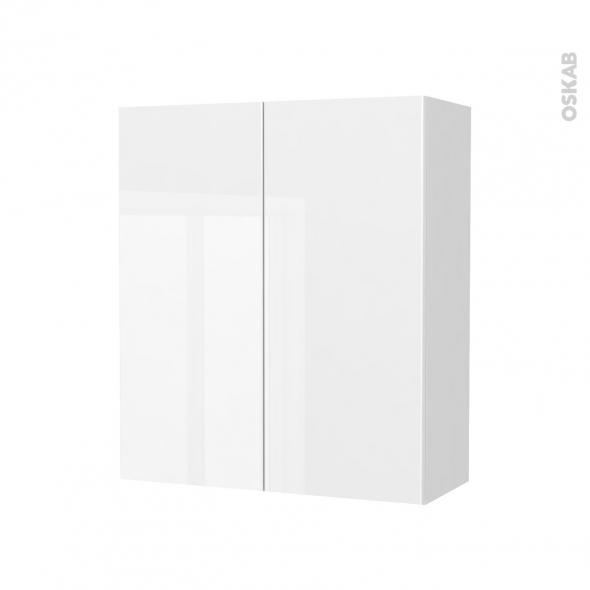 STECIA Blanc - Armoire de rangement N°691 - côté blanc - 2 portes - L60xH70xP27