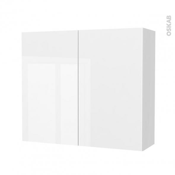 STECIA Blanc - Armoire de rangement N°701 - côté blanc - 2 portes - L80xH70xP27
