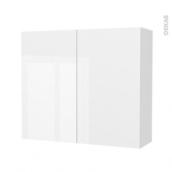 Armoire de salle de bains - Rangement haut - BORA Blanc - 2 portes - Côtés décors - L80 x H70 x P27 cm