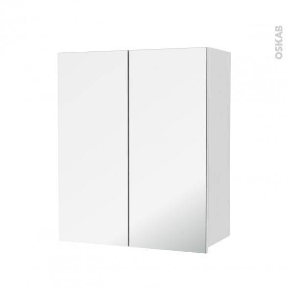 STECIA Blanc - Armoire de rangement N°742 - Côté décor - 2 portes miroir - L60xH70xP27