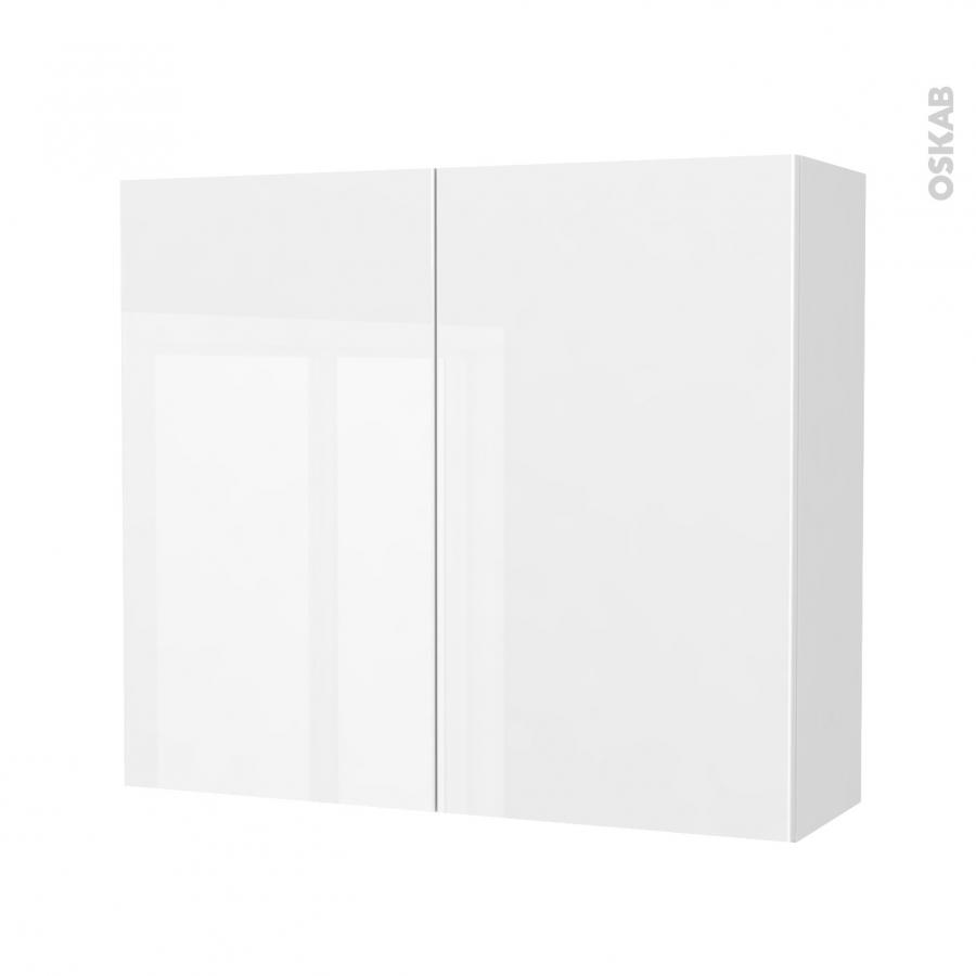 Armoire de salle de bains rangement haut bora blanc 2 portes c t s d cors l80 - Armoire salle de bain blanc ...