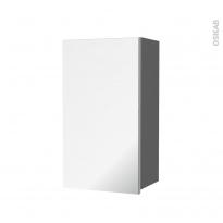 Armoire de salle de bains - Rangement haut - STECIA Gris - 1 porte miroir - Côtés décors - L40 x H70 x P27 cm