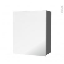 Armoire de salle de bains - Rangement haut - STECIA Gris - 1 porte miroir - Côtés décors - L60 x H70 x P27 cm