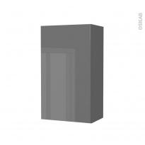 Armoire de salle de bains - Rangement haut - STECIA Gris - 1 porte - Côtés décors - L40 x H70 x P27 cm