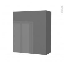 Armoire de salle de bains - Rangement haut - STECIA Gris - 1 porte - Côtés décors - L60 x H70 x P27 cm