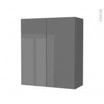 Armoire de salle de bains - Rangement haut - STECIA Gris - 2 portes - Côtés décors - L60 x H70 x P27 cm