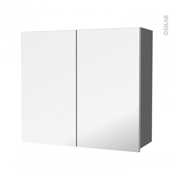 Armoire de salle de bains - Rangement haut - STECIA Gris - 2 portes miroir - Côtés décors - L80 x H70 x P27 cm