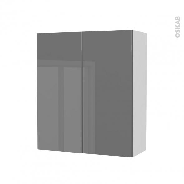 Armoire de salle de bains - Rangement haut - STECIA Gris - 2 portes - Côtés blancs - L60 x H70 x P27 cm