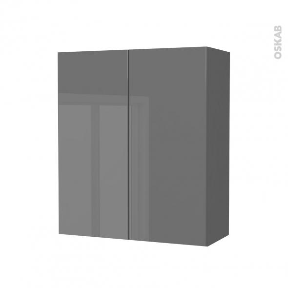 STECIA Gris - Armoire de rangement N°692 - Côté décor - 2 portes - L60xH70xP27