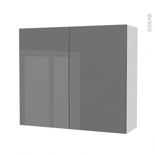 Armoire de salle de bains - Rangement haut - STECIA Gris - 2 portes - Côtés blancs - L80 x H70 x P27 cm