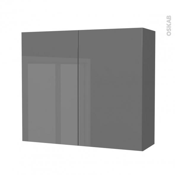Armoire de salle de bains - Rangement haut - STECIA Gris - 2 portes - Côtés décors - L80 x H70 x P27 cm