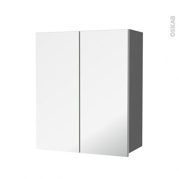 Armoire de salle de bains - Rangement haut - STECIA Gris - 2 portes miroir - Côtés décors - L60 x H70  xP27 cm