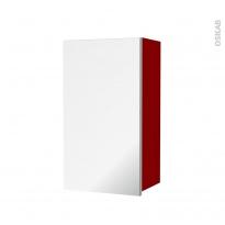 Armoire de salle de bains - Rangement haut - STECIA Rouge - 1 porte miroir - Côtés décors - L40 x H70 x P27 cm