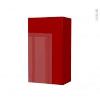 Armoire de salle de bains - Rangement haut - STECIA Rouge - 1 porte - Côtés décors - L40 x H70 x P27 cm