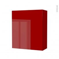 Armoire de salle de bains - Rangement haut - STECIA Rouge - 1 porte - Côtés décors - L60 x H70 x P27 cm