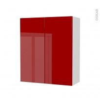 STECIA Rouge - Armoire de rangement N°691 - côté blanc - 2 portes - L60xH70xP27