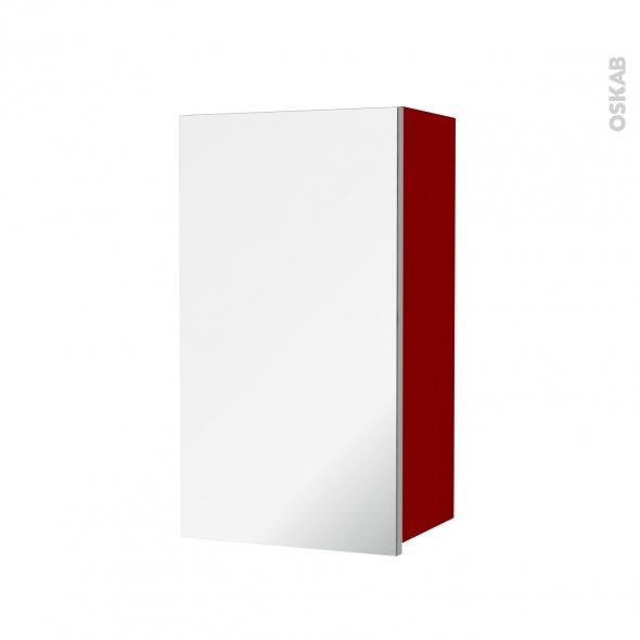 Armoire de salle de bains rangement haut stecia rouge 1 for Miroir rangement salle de bain