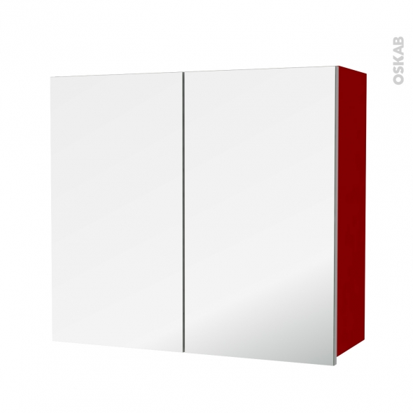Armoire de salle de bains - Rangement haut - STECIA Rouge - 2 portes miroir - Côtés décors - L80 x H70 x P27 cm