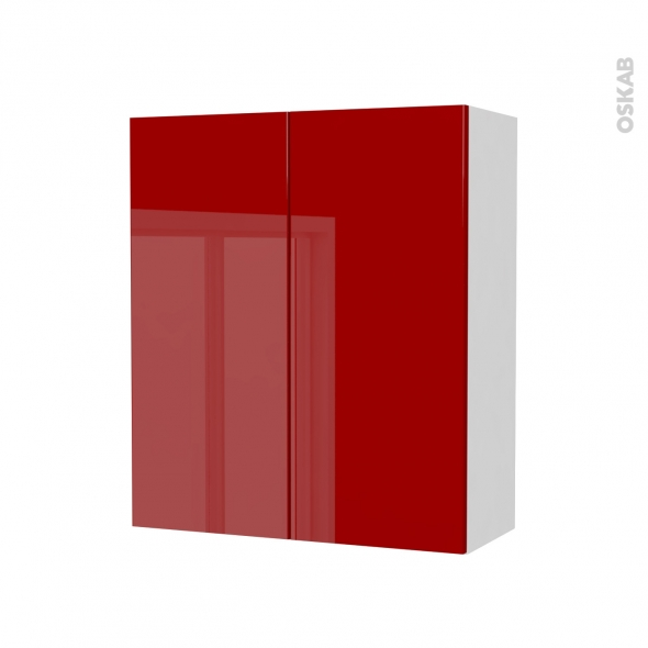 Armoire de salle de bains - Rangement haut - STECIA Rouge - 2 portes - Côtés blancs - L60 x H70 x P27 cm