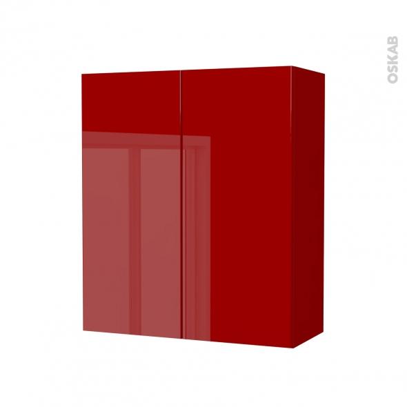 Armoire de salle de bains - Rangement haut - STECIA Rouge - 2 portes - Côtés décors - L60 x H70 x P27 cm