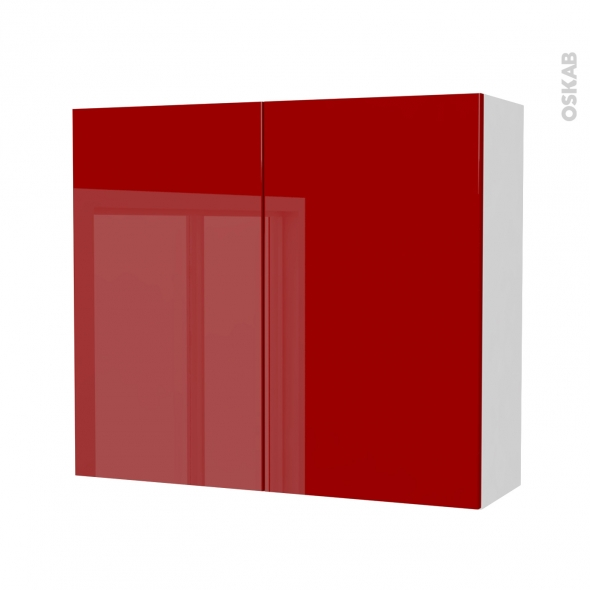 Armoire de salle de bains - Rangement haut - STECIA Rouge - 2 portes - Côtés blancs - L80 x H70 x P27 cm