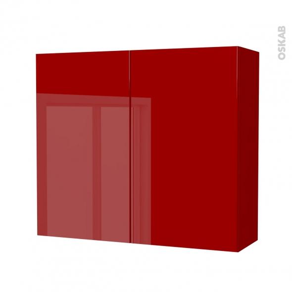 Armoire de salle de bains - Rangement haut - STECIA Rouge - 2 portes - Côtés décors - L80 x H70 x P27 cm