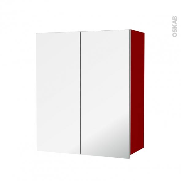 STECIA Rouge - Armoire de rangement N°742 - Côté décor - 2 portes miroir - L60xH70xP27