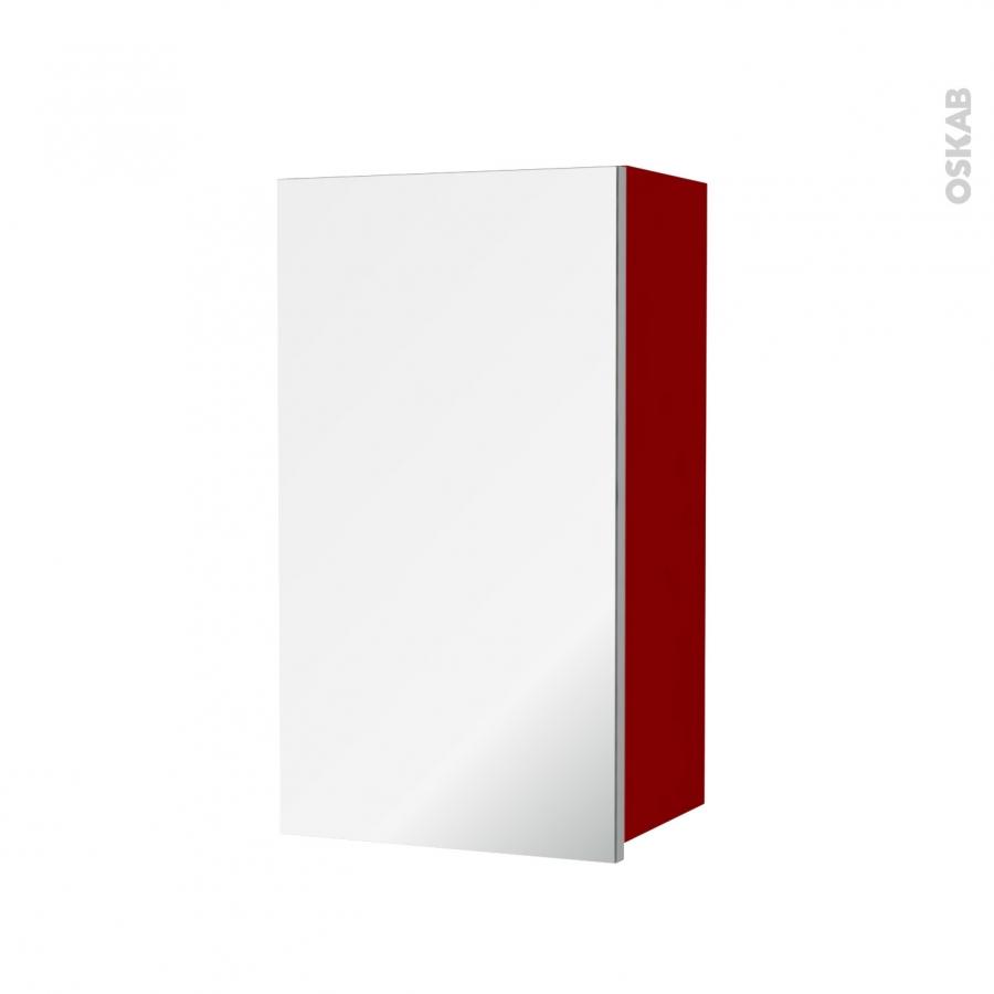 Armoire de salle de bains rangement haut stecia rouge 1 for Armoire haute de salle de bain