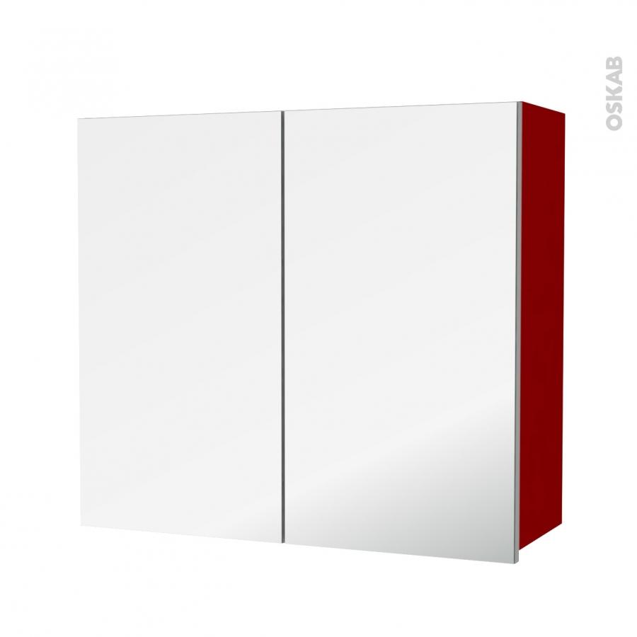 Armoire de salle de bains rangement haut stecia rouge 2 - Miroir salle de bain rangement ...