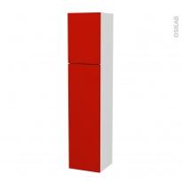 GINKO Rouge - Colonne salle de bains N°14261 - côté blanc - 2 portes - L40xH182xP40