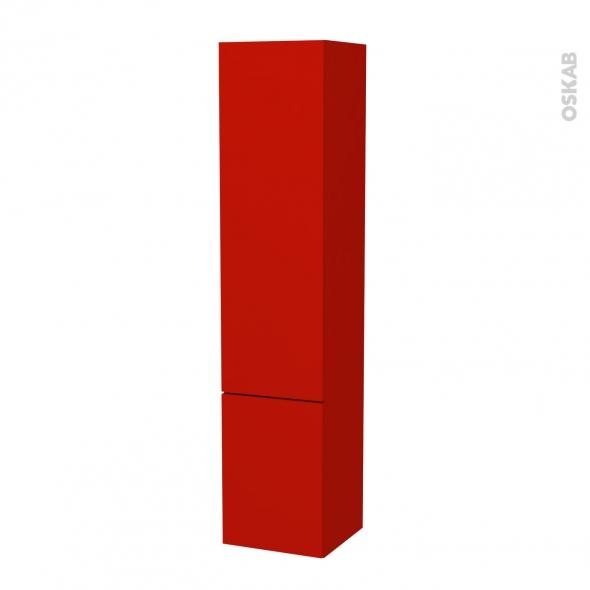 GINKO Rouge - Colonne salle de bains N°26142 - Côté décor - 2 portes - L40xH182xP40