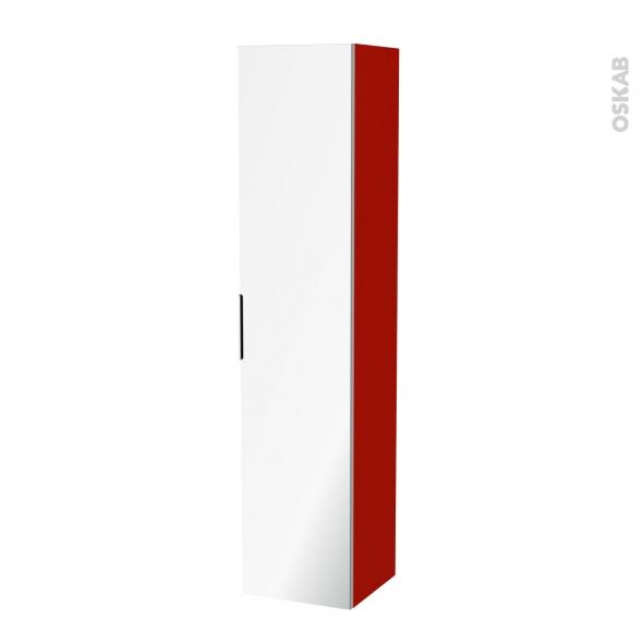 GINKO Rouge - Colonne salle de bains N°1162 - Côté décor - 1 porte miroir - L40XH182XP40