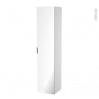Colonne de salle de bains - 1 porte miroir - Côtés blancs - L40 x H182 x P40 cm - HAKEO